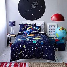 LELVA Cartoon Bedding Childrens Duvet Cover Set Kids Bedding Boys Cotton Baby Bedding Set Spacecraft Explorer Bedding for Boys Twin Full Queen Size (Full) Boys Space Bedroom, Outer Space Bedroom, Boy Room, Boy Bedrooms, Master Bedroom, Kids Beds For Boys, Kid Beds, Science Bedroom, Childrens Duvet Covers
