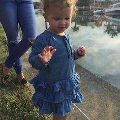 Long weekend withdrawals (it was soooo good while it lasted). Don't miss your chance to grab the last Bebe Isabel Long Sleeve Chambray Frill Dress (worn here by Poppy). We only have 1 size left (12m) and it's 40% off! #eofysale #littlestyles