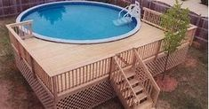 Check out some pictures of customer built decking (full decking) around there above ground pool! Here you can get an idea of what your backyard can become! #poolcooldeckideas