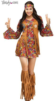 Flower Child Hippie Costume, Hippy Costume, Peace and Love Hippie Costume