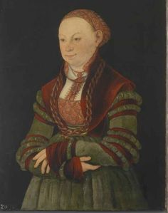Open Front bodice (for lack of a better term) with simple head covering. German I think with this caption:  Portrait of the Lady of Schleinitz (?) 1526, Lucas Cranach the Elder and workshop. Klassik Stiftung Weimar