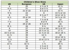 9197cc2afaef75 Clothing Size Conversion Charts  Children s Shoes Sizes Fashion Scarves