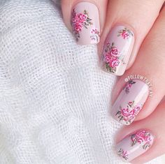 beautiful, beauty, chic, fall, fashion, floral, flowers, girl, girly, love, manicure, nail art, nailpolish, nails, pink, pretty, roses, shabby chic, vintage