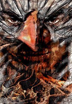 Maschera di Carta... Realizzato per mostra sul Carnevale Matita e china su acrilico rielaborati in digitale