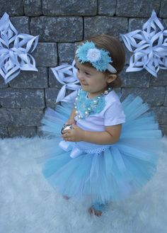 Tutu Outfit, Frozen Outfit Costume, Blue Winter Ice Princess Tutu, Cake Smash, Birthday Outfit, Christmas Tutu, My 1st Christmas, Christmas on Etsy, $60.00