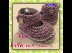 Tuto tricot chaussons bébé style ballerine version 1 - YouTube