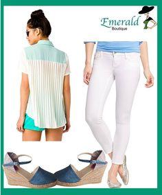 #Christmas is in @Emerald_Btk ... #stripe #jeans #Retro #Chiffon #Shirt #plataformas