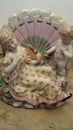 Large Vintage Dresden Porcelain Figurine Vase | eBay