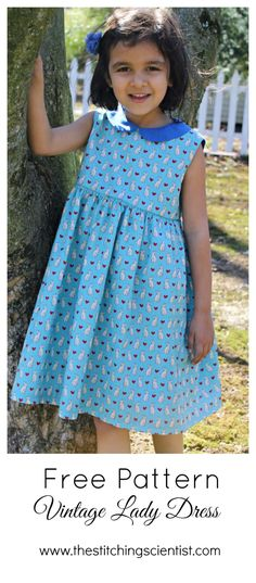 Free Vintage Lady Dress Pattern Need a dress for your little girl for Easter. Why not try the Free Vintage Lady Dress Pattern. Comes in size 6 and Its the perfect beginner pattern. Little Girl Dress Patterns, Kids Dress Patterns, Vintage Dress Patterns, Little Girl Dresses, Clothing Patterns, Nice Dresses, Vintage Fabrics, Coat Patterns, Pattern Dress