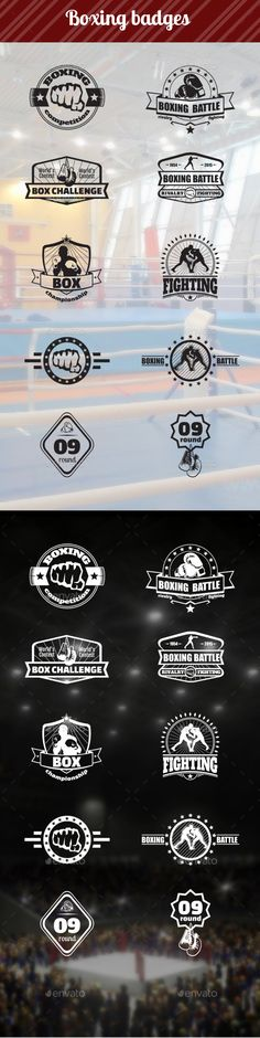Boxing badges, sport emblems, sport logos, competition emblems