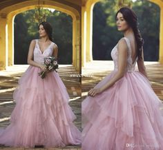 Modest Blush Tulle Wedding Dresses Puffy Vintage Lace Sheer V-neck Backless Crystals Floor Length 2017 Plus Size Country Garden Bridal Gowns Wedding Dresses Cheap Vestidos De Novia Online with 154.0/Piece on Sweet-life's Store | DHgate.com