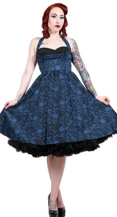 Stop Staring! Covergirl Swing Dress in Blue Lace Print   Blame Betty