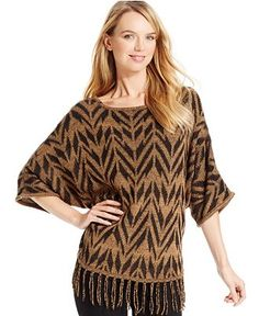 NY Collection Dolman-Sleeve Fringe-Trim Poncho Sweater - Sweaters - Women - Macy's