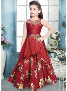 Dress Up Your Little Diva In A Plush Taffeta Silk Dress .The Maroon Colour Of The Gown Looks Charming And Pretty. This Gown Will Make Your Dear Little Angel Look Adorable For Any Special Occasion. Girls Frock Design, Baby Dress Design, Kids Frocks Design, Baby Frocks Designs, Gowns For Girls, Frocks For Girls, Little Girl Dresses, Girls Dresses, Formal Dresses