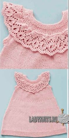 Вязаное спицами платье с ажурной оборкой на кокетке для девочки от рождения до 3 лет