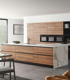 Kitchen Room Design, Kitchen Layout, Home Decor Kitchen, Interior Design Kitchen, Modern Kitchen Interiors, Contemporary Kitchen Design, Luxury Kitchens, Home Kitchens, Open Plan Kitchen Diner