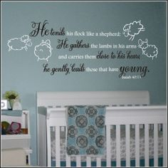 Lamb Theme Nursery Wall Quote | Ecclesiastes, Song of Solomon, Isaiah, Jeremiah Christian Wall Decals