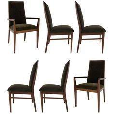 Set of Six Walnut Dining Chairs by Kipp Stewart | From a unique collection of antique and modern dining room chairs at https://www.1stdibs.com/furniture/seating/dining-room-chairs/