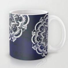 White Feather Mandala on Navy Mug by Tangerine-Tane