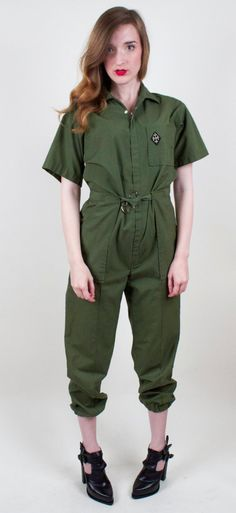 70s Military Jumpsuit Army Green Coveralls by VonVixenVintage
