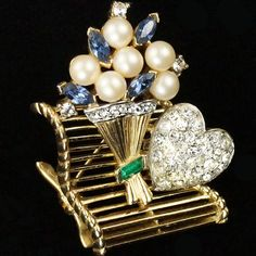 Trifari Pearls and Sapphires Bunch of Flowers and Pave Heart on a Park Bench Pin