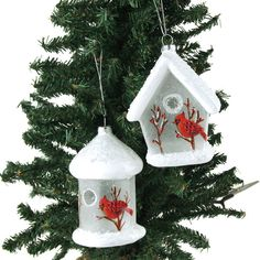 White Birdhouse Glass Ornaments Assorted 4-3/4-Inch by PartySpin