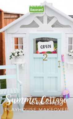 Building your little one a playhouse in the backyard will surely make them happy. There are a few things you should know before you build a playhouse for kids. Painted Playhouse, Build A Playhouse, Playhouse Outdoor, Playhouse Ideas, Costco Playhouse, Cubby Houses, Play Houses, Tree Houses, Little Girls Playhouse