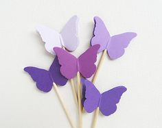 24 Purple Butterfly Cupcake Toppers, Party Decor, Weddings, Showers, Birthdays, Spring, Summer, Nature