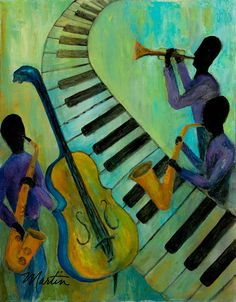 Jazz in a Cool Mood Painting  - Jazz in a Cool Mood Fine Art Print
