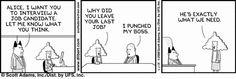 Dilbert job interview comic strip