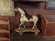 19th Century Original Paint Wood Pull Toy Horse Possibly American Made Primitive   eBay  sold   733.00.      ...~♥~