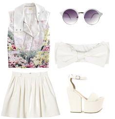 Dancing queen Rebecca Minkoff vest, bandeau via 2020ave.com, Monki skirt, Nly Shoes sandals, Etsy sunglasses