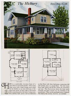 Vintage Farmhouse Plans vintage house illustration - elevation and floor plan, blue with