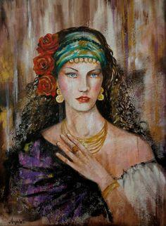 """Saatchi Art Artist: Anna Rita Angiolelli; Oil 2015 Painting """"Esmeralda"""""""