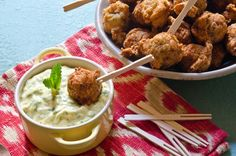 This southern take on a classic falafel is sure to please and is simple to make. Adding the ground chicken with the chickpeas and encasing them in House-Autry Original Hushpuppy Mix, delights both young and old. Our Honey mustard based sauce completes this southern experience. You can make these ahead and hold on low in the oven. Yummy Chicken Recipes, Yum Yum Chicken, Ground Chicken, Honey Mustard, Falafel, Chickpeas, Fritters, Oven, Southern