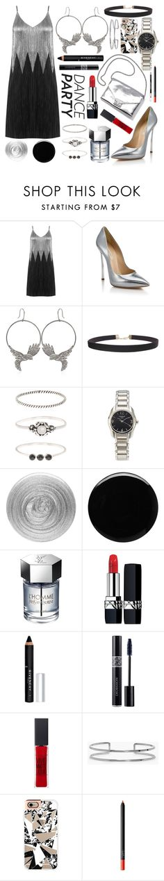 """Dancing all night.🎉🎊"" by dixiepixiefashionista ❤ liked on Polyvore featuring Casadei, Roberto Cavalli, Humble Chic, Accessorize, Tissot, Loeffler Randall, Nails Inc., Deborah Lippmann, Yves Saint Laurent and Christian Dior"