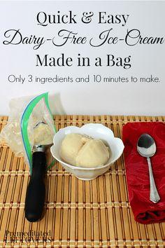 How to Make Dairy-Free Ice-Cream in a Bag: Quick and easy dairy-free ice-cream recipe using Silk Soymilk, sugar, vanilla, baggies, ice, and rock salt.