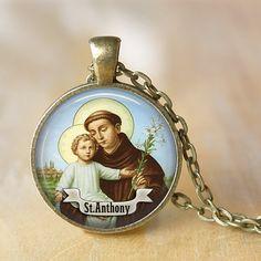 St Anthony Pendant Necklace Saint Necklace by LiteraryArtPrints