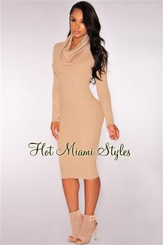 Nude Knit Ribbed Cowl Neck Dress.