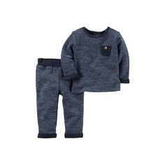 Baby Boy Carter's French Terry Top & Pants Set, Size: 12 Months, Med Blue