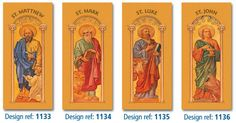 The Four Evangelists, Matthew, Mark, Luke and John by Leopold Bruckner - available as banners, roller banners, display boards and Lectern Frontals from McCrimmons #SaintsCollection