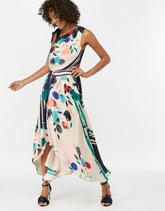 Our Suki midi dress makes a statement in abstract florals. Taking the form of this season's favourite asymmetric cuts, this design features a gathered waist,. Line Shopping, Girls Shopping, Style Finder, Ladies Party, Monsoon, Mannequin, Dress Making, Casual Wear, Party Dress