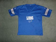 Youth Boys Blue & Silver DETROIT LIONS NFL V-Neck Jersey, Size M 6/8, Good Shape #Franklin #DetroitLions