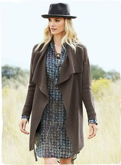 A cozy jacket option, the alpaca cardigan falls longer in front, with a ribbed waterfall collar, drop shoulders, self-belt and rib knit trim. Turtledove (modeled) or Black.
