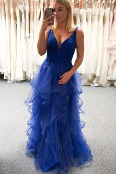 Royal Blue Tulle V Neck Layered Long Senior Prom Dress Graduation Dress Source by storenvy dresses for teens short Senior Prom Dresses, Tulle Prom Dress, Prom Dresses Blue, Cheap Prom Dresses, Day Dresses, Evening Dresses, Dresses With Sleeves, Formal Dresses, Prom Gowns