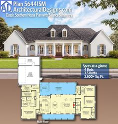 Architectural Designs Home Plan 56441SM gives you 4 bedrooms, 3.5 baths and 2,500+ sq. ft. Ready when you are! Where do YOU want to build? #56441SM #adhouseplans #modern #classic #southern #architecturaldesigns #houseplans #architecture #newhome #newconstruction #newhouse #homeplans #architecture #home #homesweethome