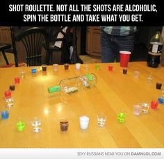 Pre wedding party (Co-Ed bachelor/bachelorette) game-shot roulette! Some are alcohol, some are not-spin the bottle and see what you get! Shot Roulette, Roulette Game, Spin The Bottle, Hallowen Ideas, Party Fiesta, Before Wedding, Funny Games, Drunk Games, Redneck Games