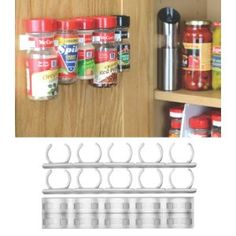 SpiceStor Organizer Rack 20 Cabinet Door Spice Clips - took me forever to find these.  Other pinners have them pinned as mop holders... they are actually for spices!