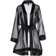 Bluebella Dressing Gown (€30) ❤ liked on Polyvore featuring intimates, robes, dresses, lingerie, robe, black, outerwear, sash belt, dressing gown and lingerie robe