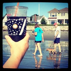 #love going to the #beach so early, I get to see all the #dogs on my #morning #walk. And, of course, there's a #doglovers #jennsjavajackets by @thirdjenneration to help #capture the #moment! #dunkins #iced #coffee #rye #beach #nh #atlantic #ocean #ecofriendly #smallbusiness #bigdreams